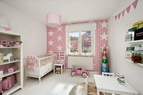 Ideas para decorar habitaci n infantil en rosa y blanco for Pared habitacion infantil