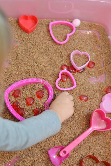 Valentines sensory rice and play activities