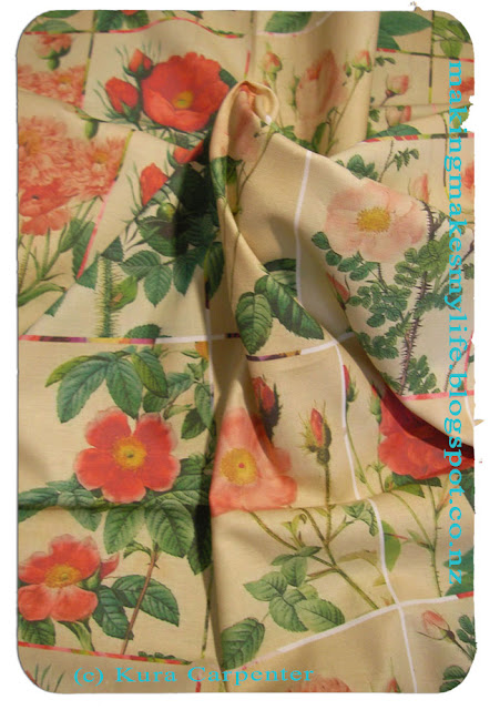 Antique Roses Fabric samples, printed via Spoonflower