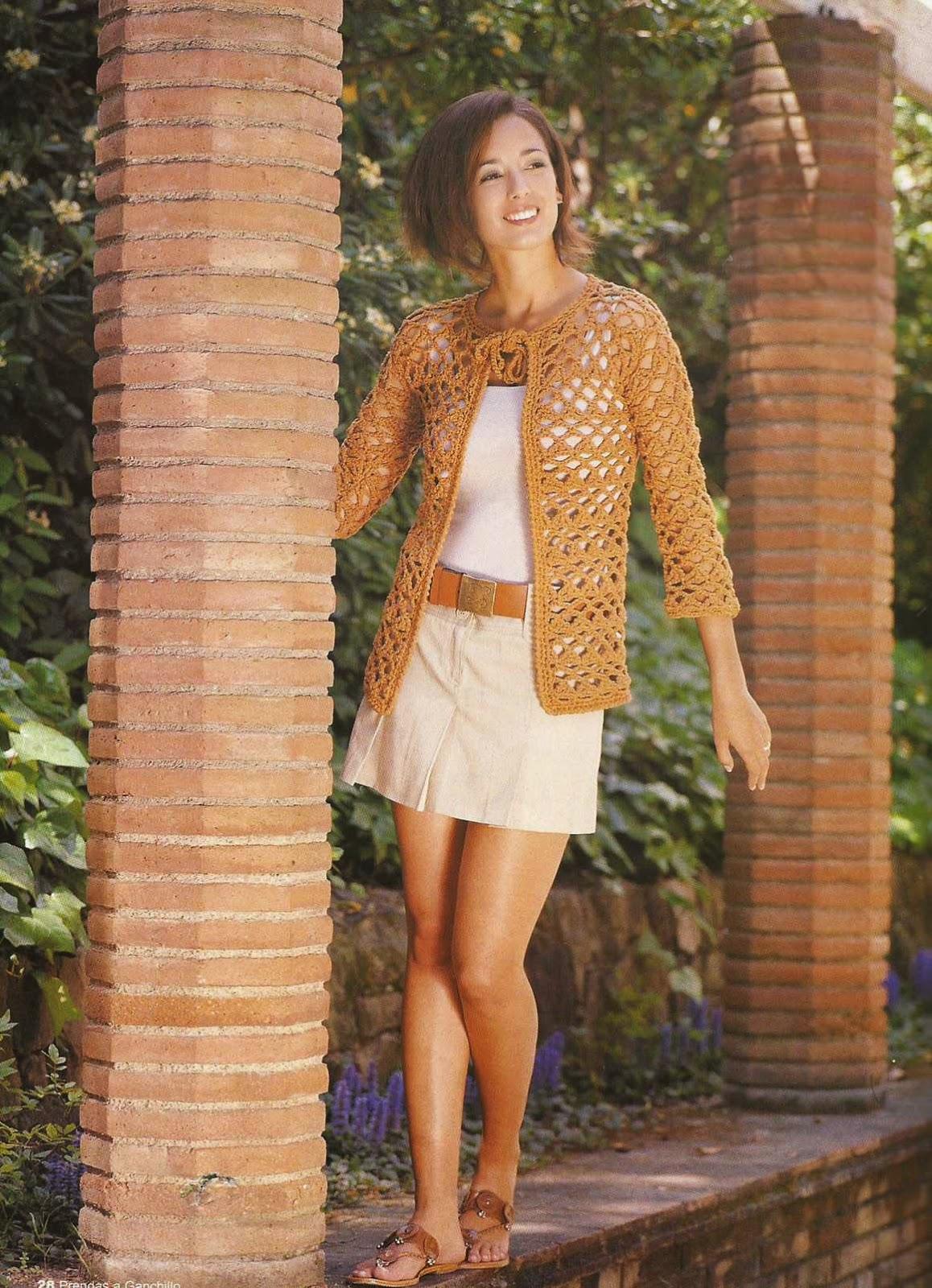 #12 Chaqueta Naranja a Crochet