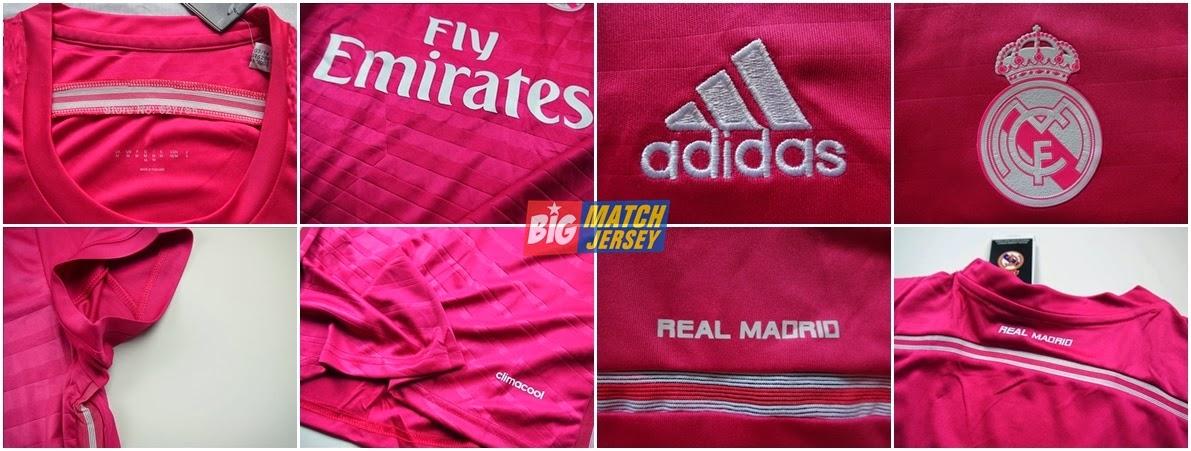 Detail Baju Bola Cewek Terbaru Dan Keren Real Madrid Away Warna Pink Putih Terbaru 2015