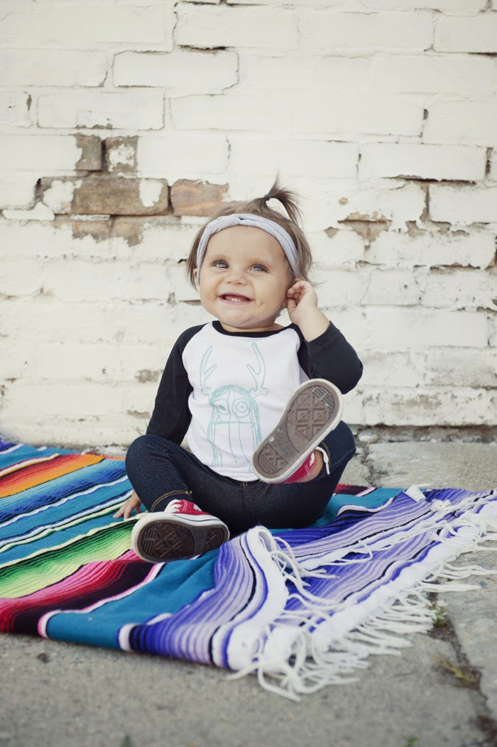 Baby raglan tee with monster print by Rachel and Groms
