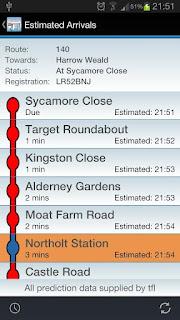 información de llegada de autobús Londres