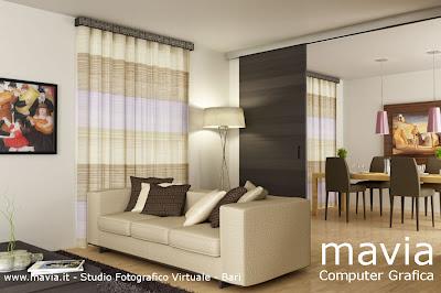 Arredamento di interni rendering interni 3d mobili for Tende moderne per sala