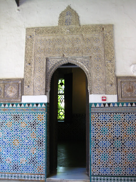 Arched doorway in The Alcazar, or Royal Palace in Seville, Spain.