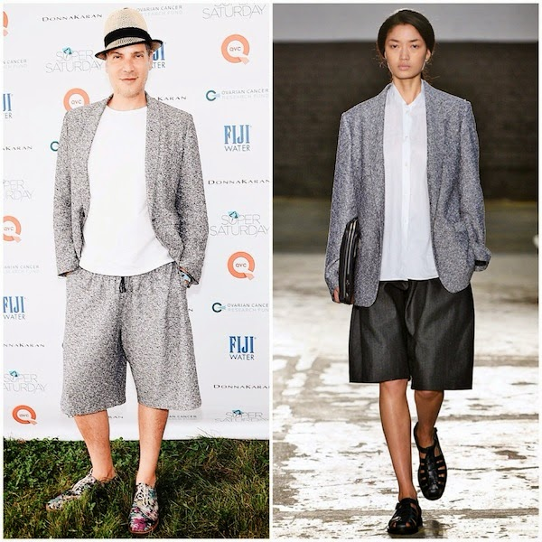 Cameron Silver in 1205 grey shorts suit and TOMS shoes at 2014 OCRF 17th Annual Super Saturday Hosted By Kelly Ripa And Donna Karan