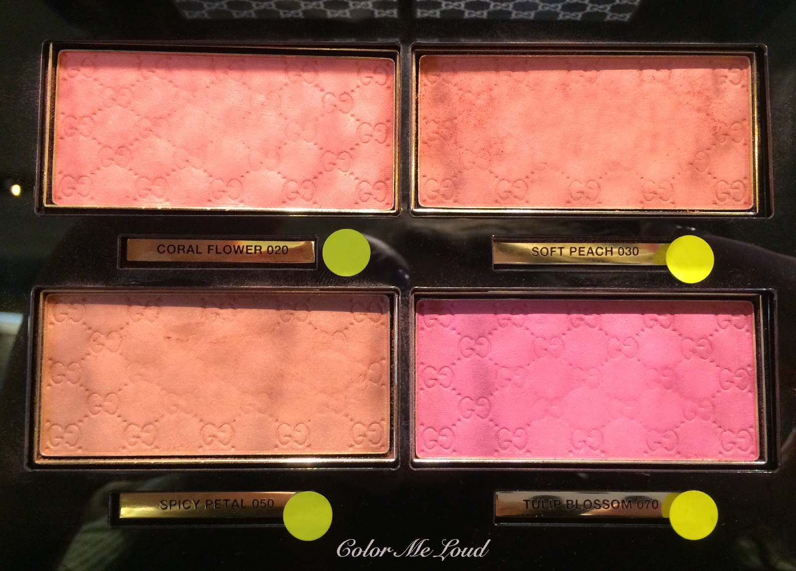 Gucci Sheer Blushing Powder Coral Flower, Soft Peach, Spicy Petal and Tulip Blossom