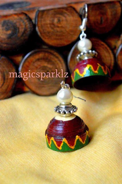quilled maroon green ethnic jhumka