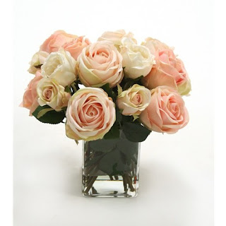 Pink Rose Faux Flower Arrangement