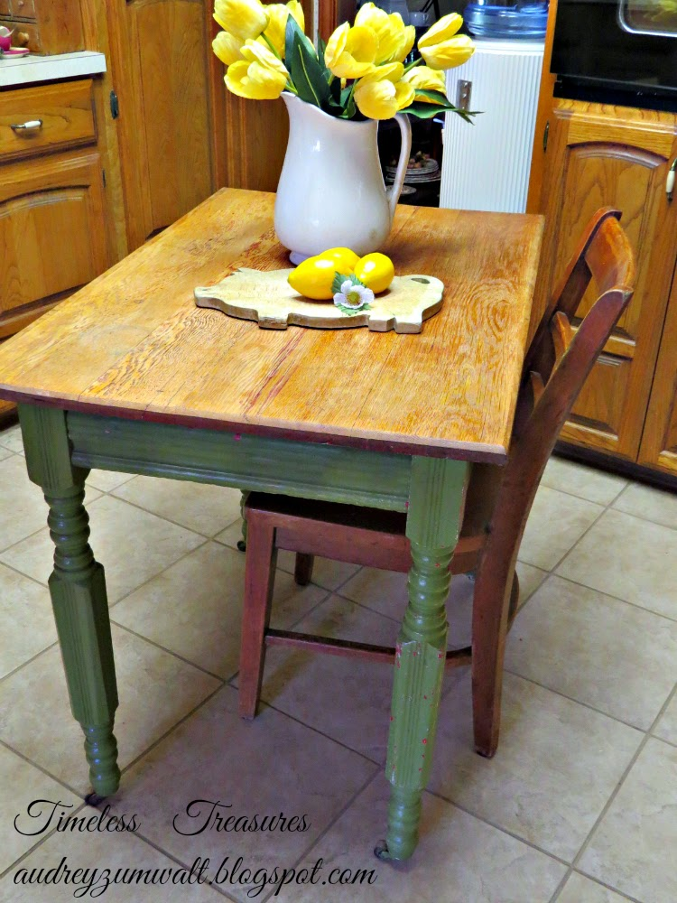 We have this sweet little vintage farmhouse table in the kitchen but do not