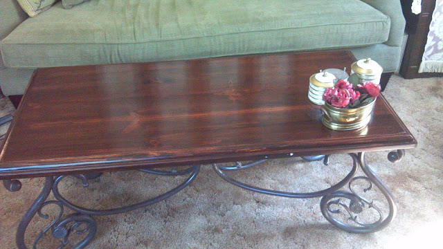 Newly stained coffee table top