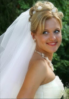 bride hairstyles veil down