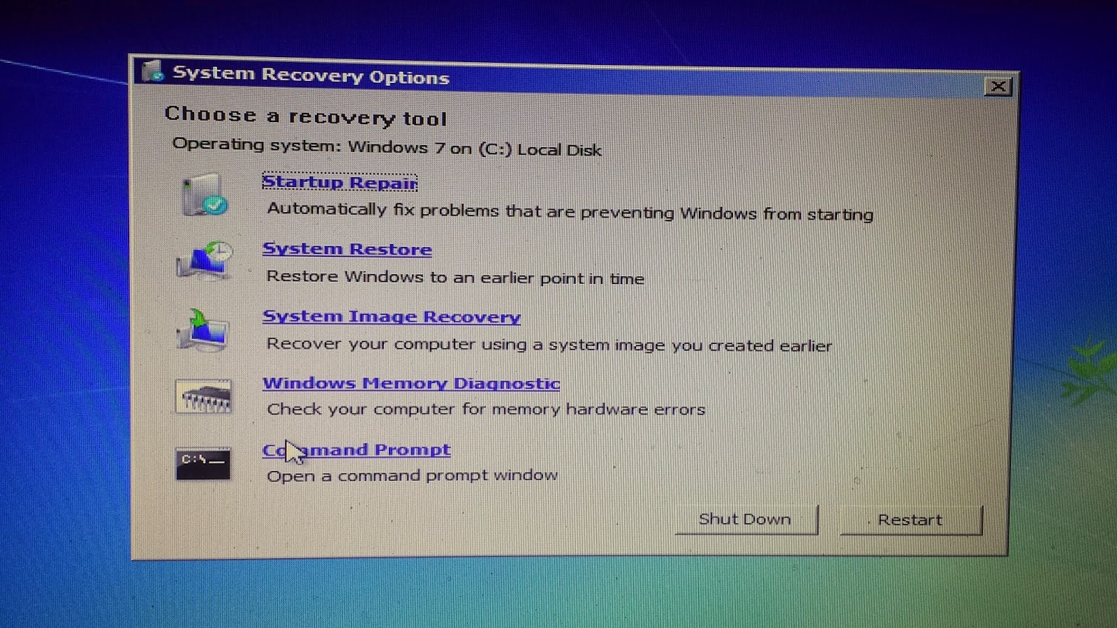 windows 7 recovery tools commands
