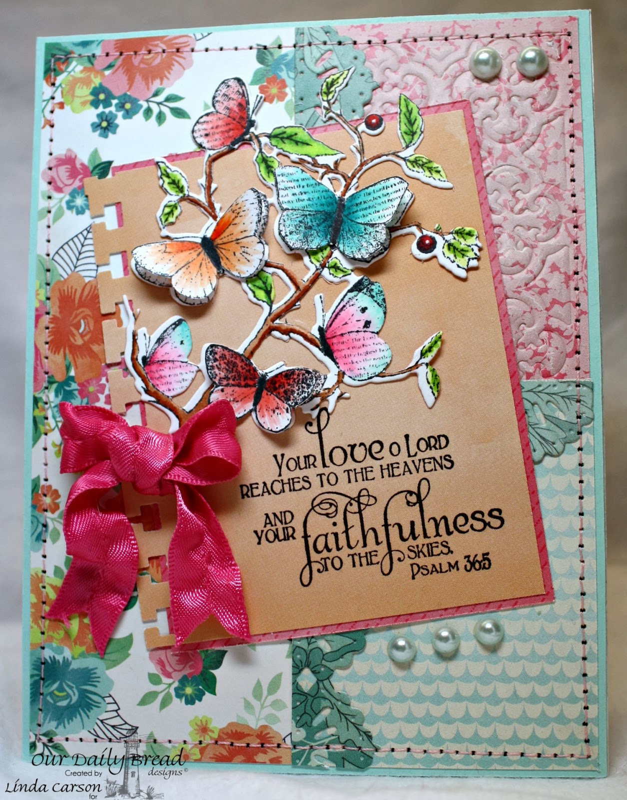 ODBD, Faith, Beautiful Border die, Butterfly Branch die, Quatrefoil die, designer Linda Carson