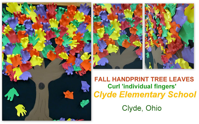 photo of: Handprints as Fall Leaves on Bulletin Board