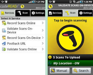 codeREADr - Enterprise Barcode Scanner Free App Interface on Android