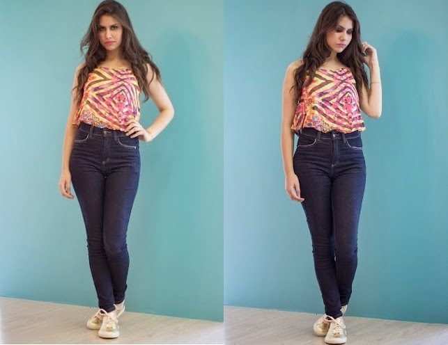 Look divertido com Cropped soltinho  e tênis.