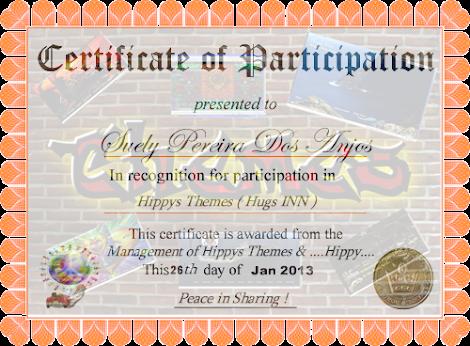 Certificado em reconhecimento à minha  Participação nas atividades