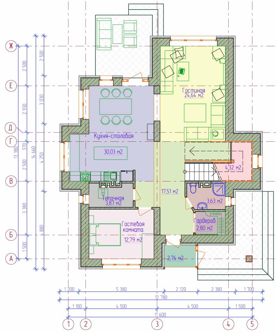 проект схема двухэтажного дома