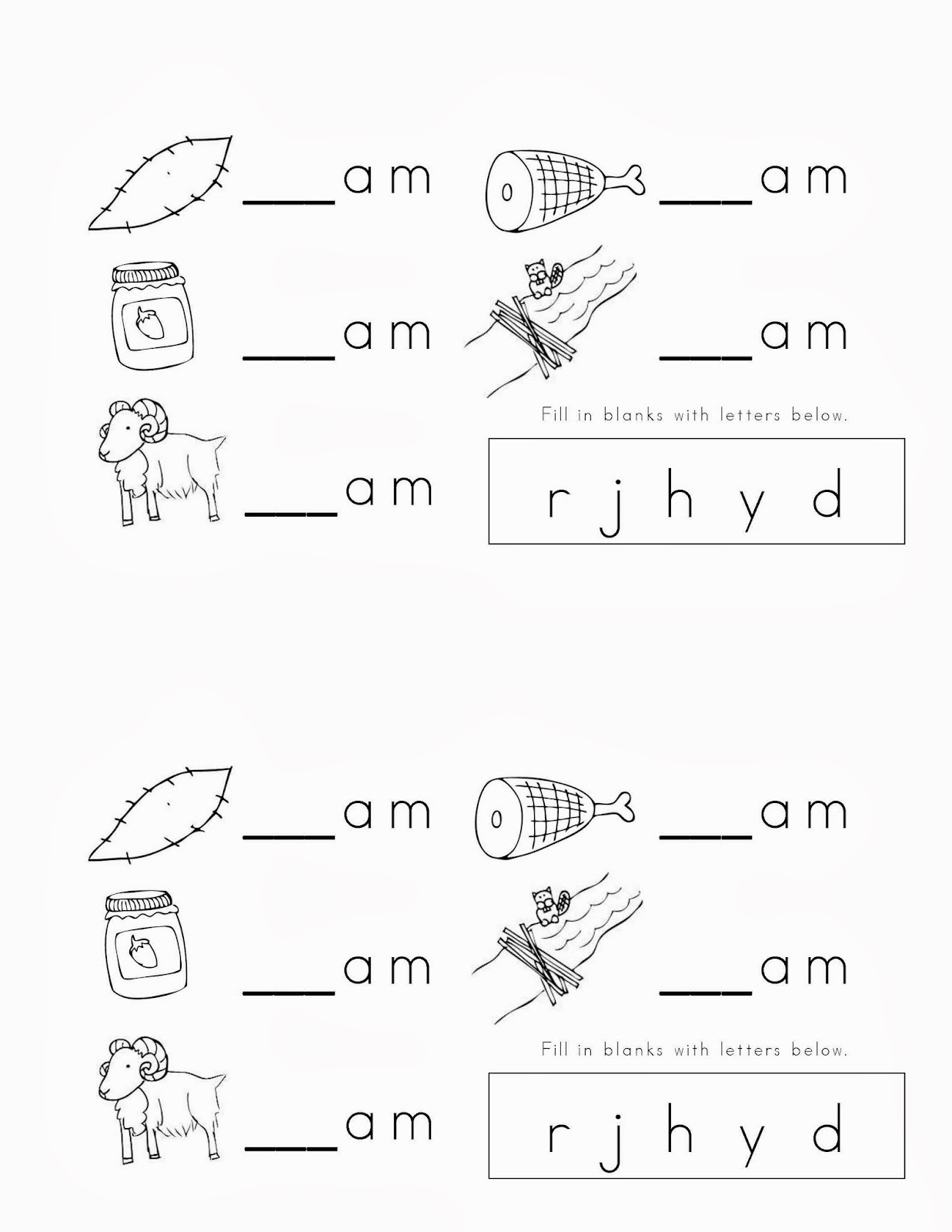 am Word Family Worksheet | Worksheets, Students and Phonics