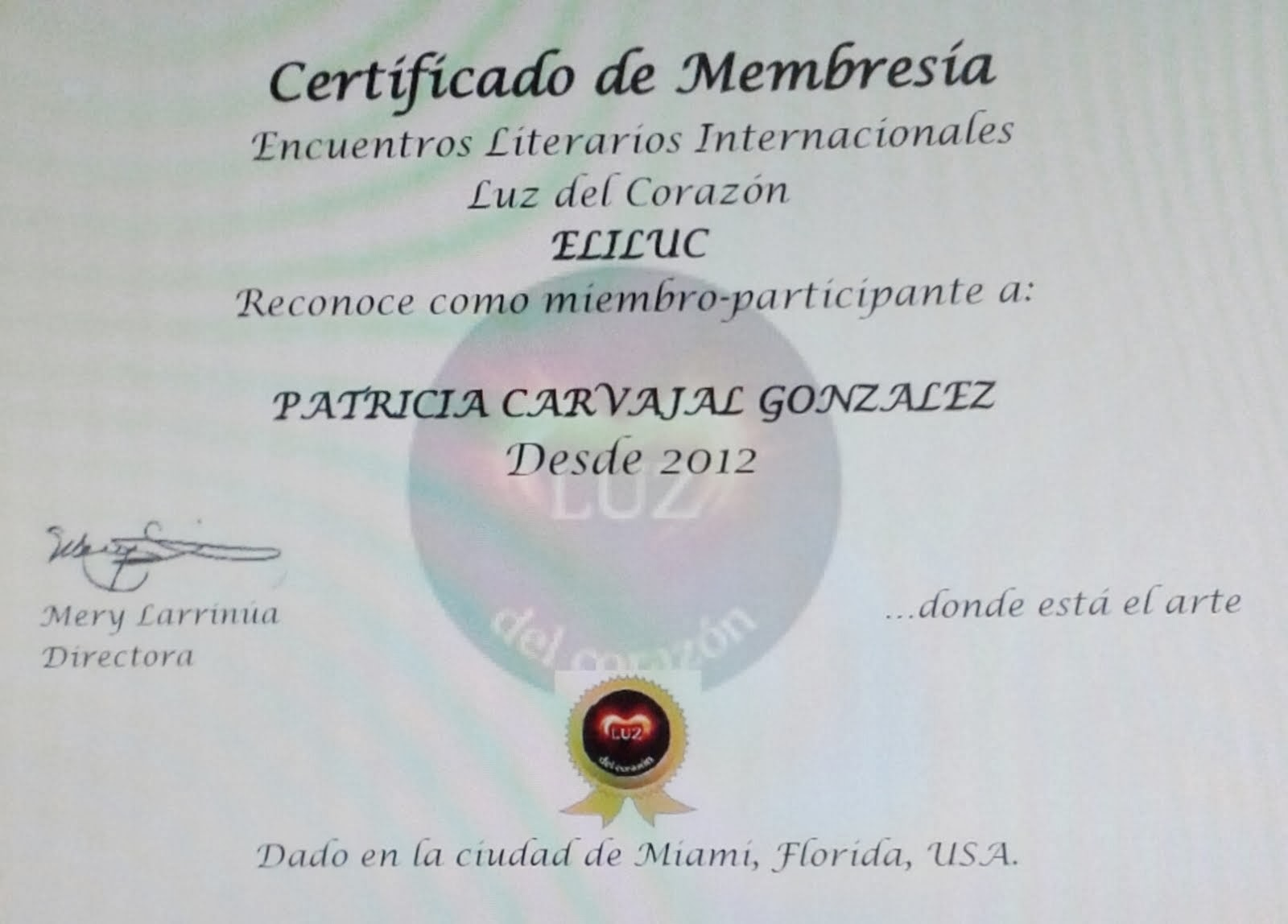 Certificado de Membresía Encuentros literarios Internacionales Luz del Corazón ELILUC