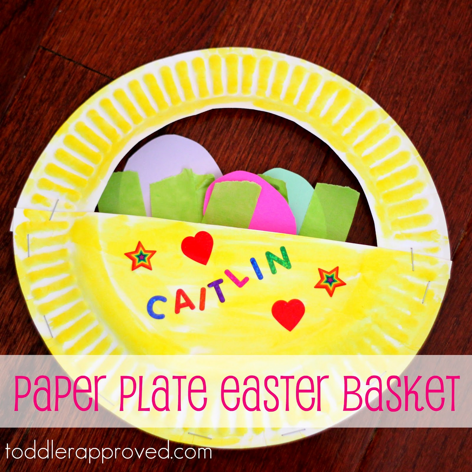 Toddler approved paper plate easter basket for Easy paper plate crafts