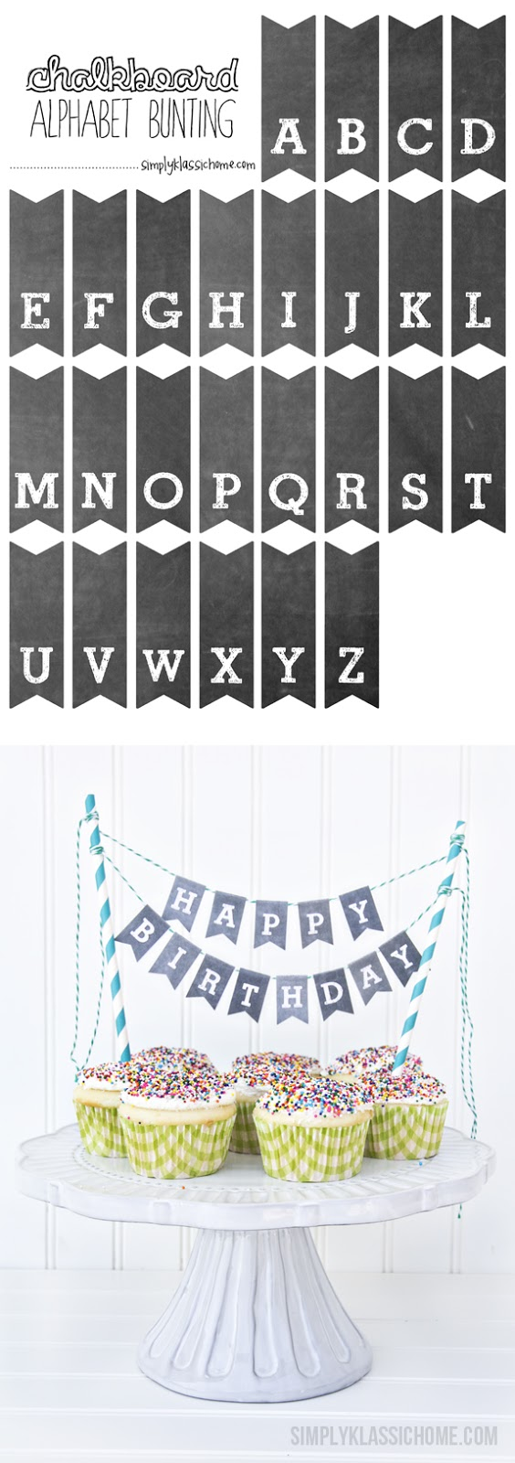 Printable Chalkboard Letters Cake Bunting Yellow Bliss Road