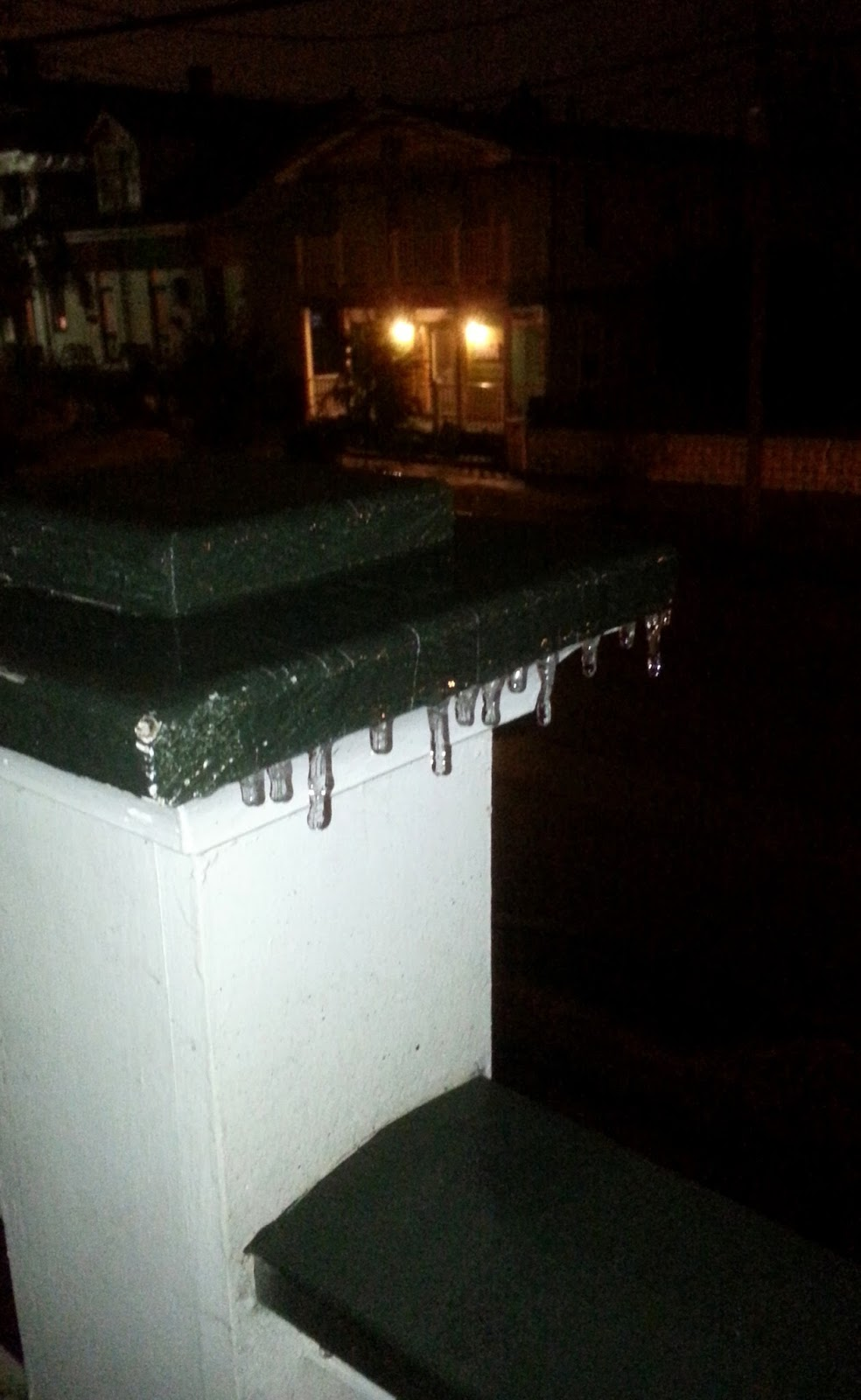 icicles on railing in New Orleans