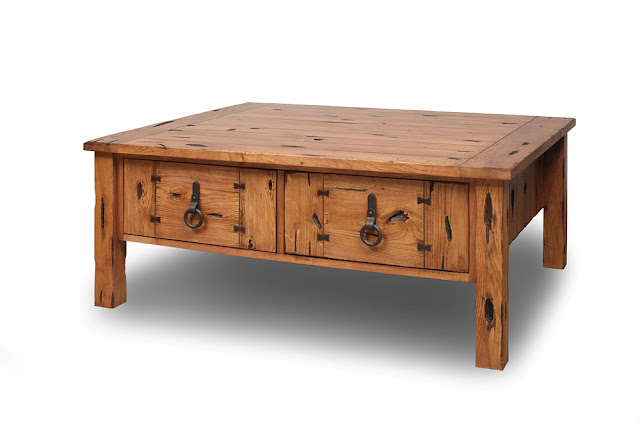 Oak Occasional Table 4 Drawers - Rustic - Sale