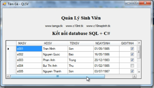 Ket noi Database voi SQK trong C-Sharp