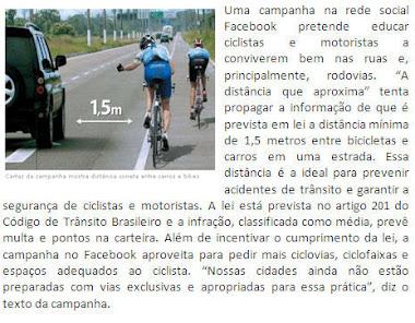 Campanha no Facebook incentiva distância entre carros e ciclistas