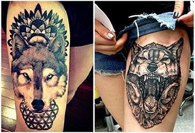 Tatuagem feminina de lobos