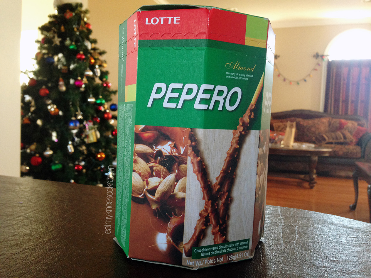 The box for the Lotte Pepero Almond Chocoalte Covered snacks!