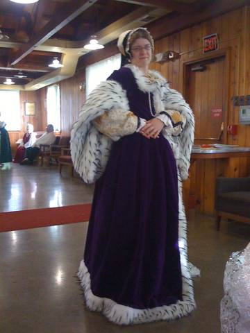 Side of Purple Velvet Ermine Fur Tudor  Gown