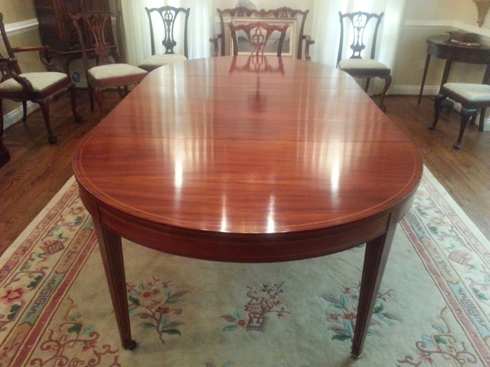 Mahogany Dining Room Table with Tulip Wood Banding  Ca  1920. John Mark Power  Antiques Conservator  Mahogany Dining Room Table
