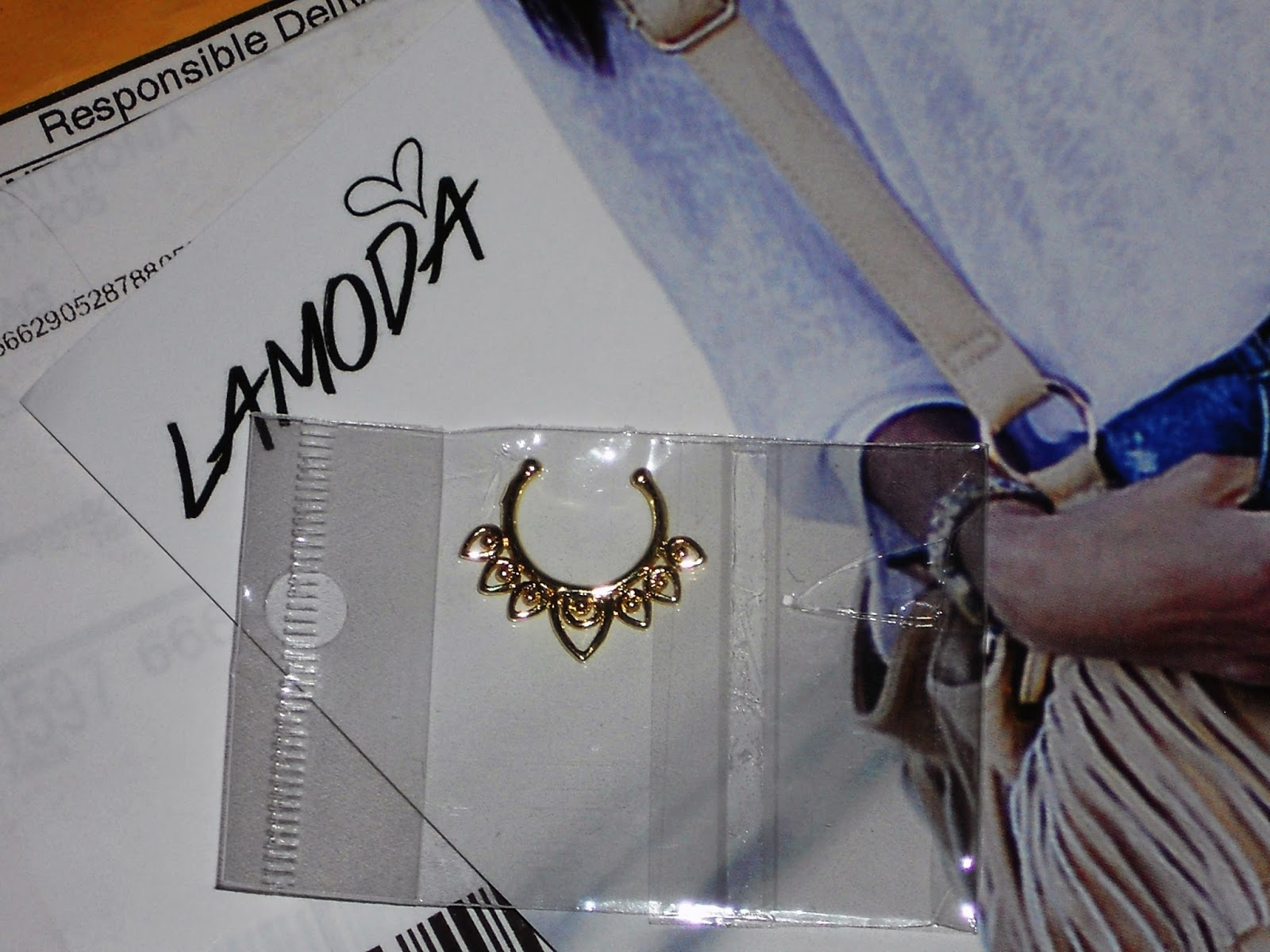 gold faux septum rings LA MODA UK