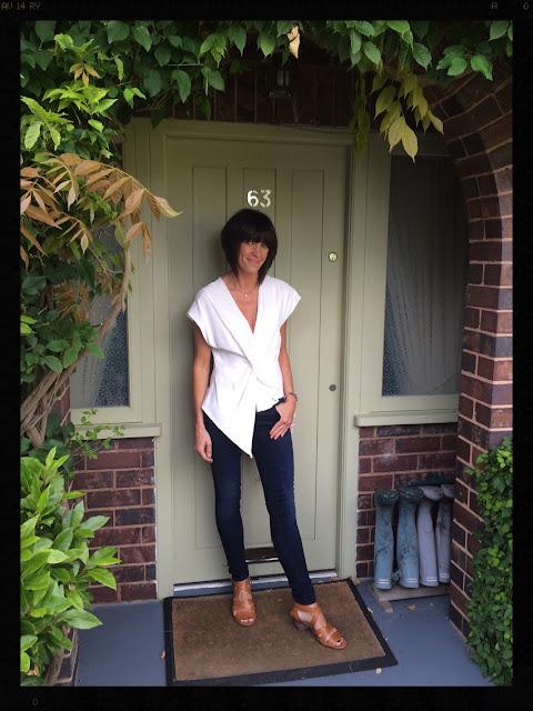 My Midlife Fashion, Zara, Clarks, Draped Top, Tan Sandals, Skinny Jeans