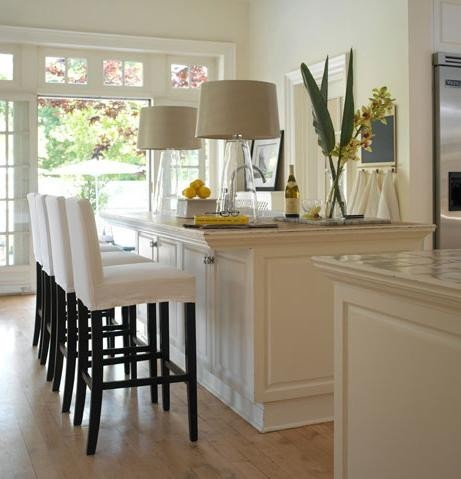 love the use of these table lamps in the kitchen. Black Bedroom Furniture Sets. Home Design Ideas