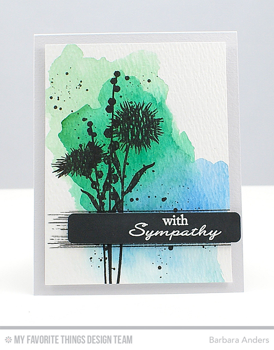 Floral Sympathy Card by Barbara Anders featuring the Distressed Patterns and Lisa Johnson Designs Grand Peaceful Wildflowers stamp sets and the Blueprints 24 Die-namics #mftstamps