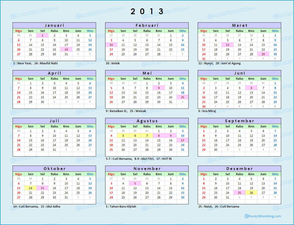 Hari Libur Nasional Tahun 2013