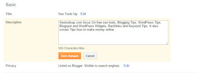 Meta Description Tag In blogger