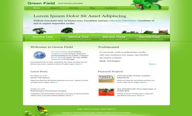 Free Green Nature Field HTML Website Template