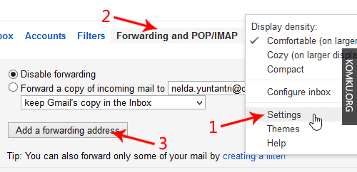forwarding and POP IMAP