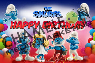 Smurfs Themed Birthday Banner and Invitations with child photo