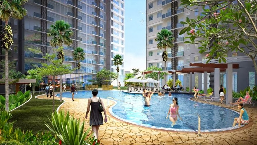 Swimming Pool & Garden, Apartemen Puri Orchard