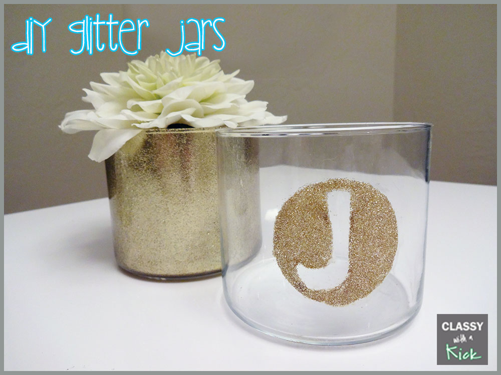 classy with a kick diy glitter ified candle jars. Black Bedroom Furniture Sets. Home Design Ideas