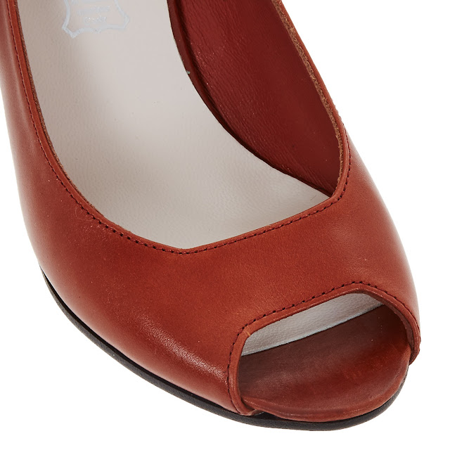 andre brown leather peep toe court shoes