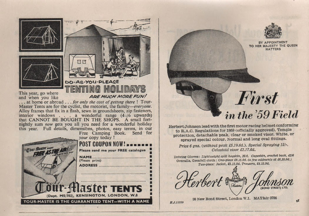 Vintage advertisement for tents and a motorbike helmet