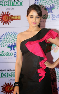 Actress Model Asmitha Sood  Pictures in Short Dress at Memu Saitam Dinner with Stars Red Carpet  27