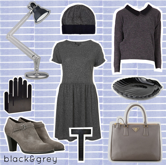 collage of black and grey items